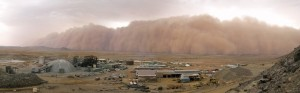 Photo courtesy of Xavier Van Lierde of FQMC Coppermine, Mauritania West Africa & approaching sandstorm